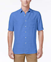 Tasso Elba Men's Silk and Linen Blend Crosshatch Short-Sleeve Shirt with Pocket, Created for Macy's