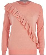 River Island Womens Pink asymmetric ruffle sweater