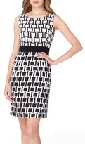 Tahari Petite Women's Jacquard Print Sheath Dress