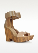 See by Chloé Leather and Canvas Wedge Sandals