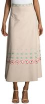 Temperley London Sylvia Cotton Embroidered Midi Skirt