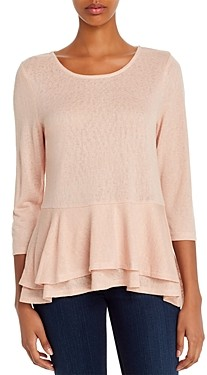 Bobeau B Collection by Fleure Ruffled Tiered Peplum Knit Top