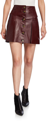 Dodo Bar Or Galina Button-Front Leather Mini Skirt