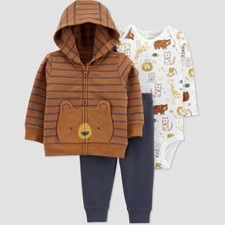 Just One You Made By Carter's Baby Boys' Bear Cardigan Fleece Long Sleeve Top & Bottom Set - Just One You® made by carter's