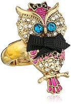 "Betsey Johnson Enchanted Forest"" Owl Stretch Ring, Size 7.5"