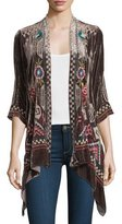 Johnny Was Dani Velvet Draped Cardigan, Petite