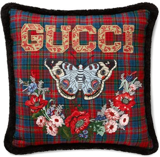 Gucci Butterfly Check Wool Cushion