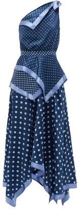 Altuzarra Petrel One-shoulder Polka-dot Silk Midi Dress - Womens - Blue Multi