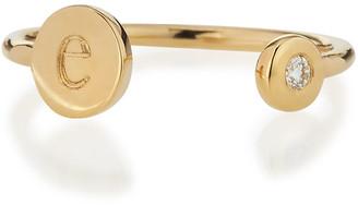 Sarah Chloe Rocha 14k Gold Initial Open Diamond Ring