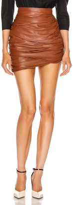 ZEYNEP ARCAY Asymmetric Mini Draped Leather Skirt in Whiskey | FWRD