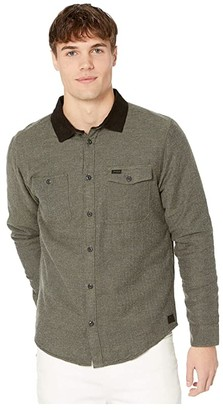 RVCA Victory II Long Sleeve Button Up Shirt (Olive Heather) Men's Clothing