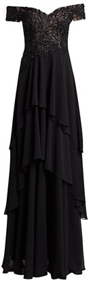 Teri Jon by Rickie Freeman Off-Shoulder Floral Lace Tiered Gown