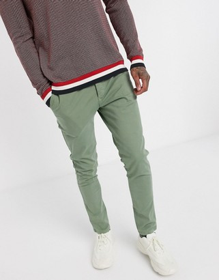 Selected organic cotton skinny fit chino pants in light green
