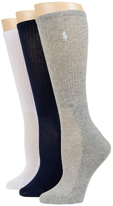 Lauren Ralph Lauren Cushion Sole Mesh Top Crew 3-Pack (Navy/Assorted) Women's Crew Cut Socks Shoes
