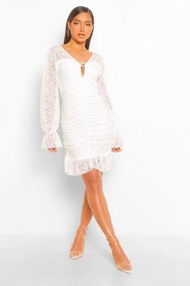 boohoo Lace Frill Hem Mini Dress