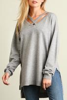 Umgee USA Cross Neck Sweatshirt