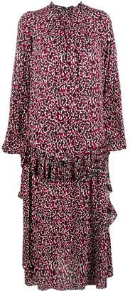 No.21 Leopard Print Frilled Midi Dress