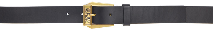 Versace Jeans Couture Black & Gold Leather Belt