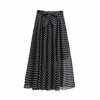 Skirts Floral Print Chiffon Long Women Fashion 2020 Summer Boho Holiday A Line High Waist Pleated Female with Belt-Dot Black-One Size