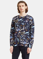 Fendi Men's Garden Print Crew Neck Sweater In Blue