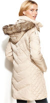 Kenneth Cole Reaction Petite Hooded Faux-Fur-Trim Quilted Puffer