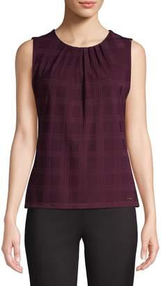 Calvin Klein Plaid-Print Sleeveless Top
