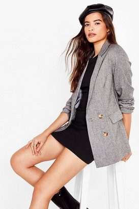 Nasty Gal Womens Faux Wool You Be Mine Double Breasted Blazer - Grey - S, Grey
