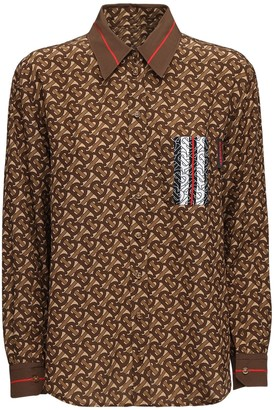 Burberry All Over Tb Print Mulberry Silk Shirt