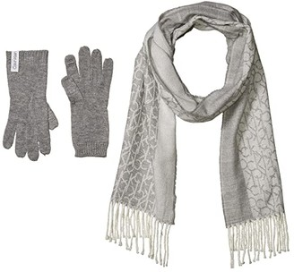 Calvin Klein Two-Piece Woven Border Scarf and Knit Touch Gloves (Heather Mid Grey) Scarves