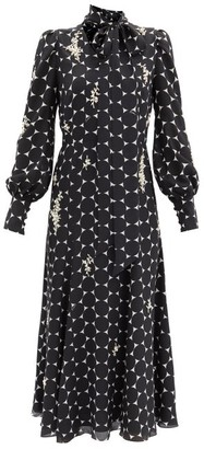 Erdem Violante Pearl-embellished Silk Dress - Black/white