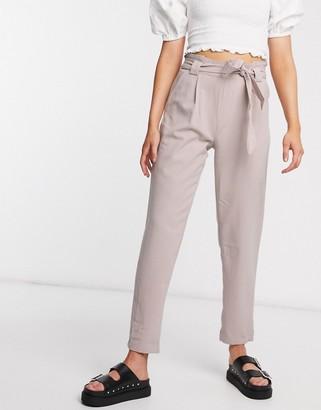 JDY dakota papgerbag waist trousers in grey