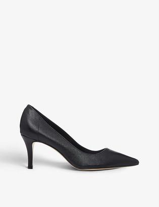 Dune Andina mid heel leather court shoes