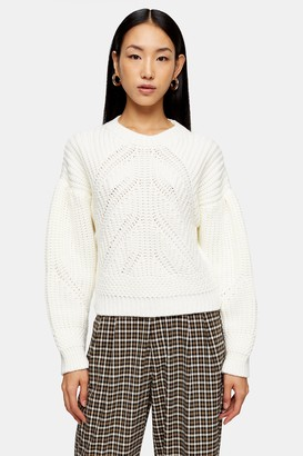 Topshop Womens White Knitted Ribbed Balloon Sleeve Jumper - White