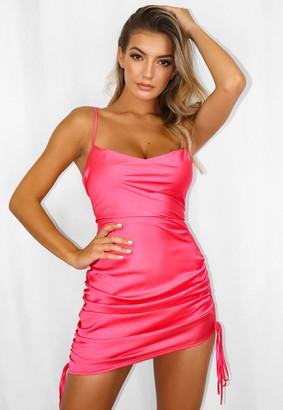 Missguided Petite Hot Pink Satin Cowl Neck Mini Dress