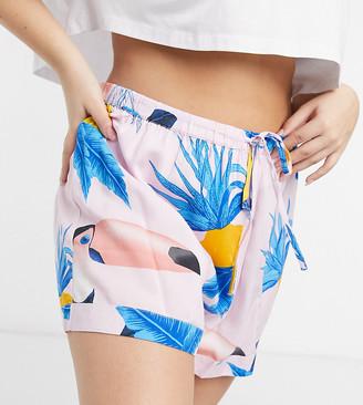 ASOS DESIGN Curve mix & match toucan print 100% modal pyjama shorts in pink