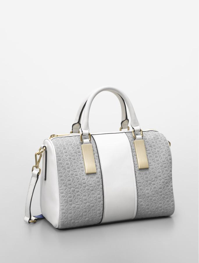 Calvin Klein Brynn Suede Logo + Faux Leather Satchel