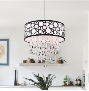 """Home Accessories Crystal 17"""" 4-Light Indoor Pendant Lamp with Light Kit"""