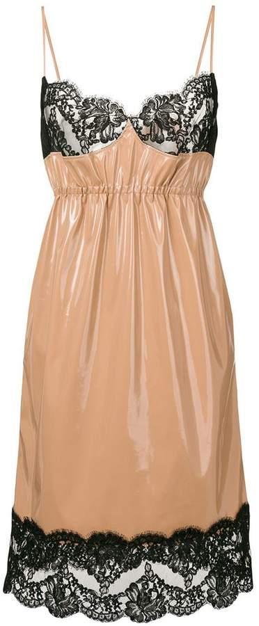 No.21 lace-hem contrast flared dress