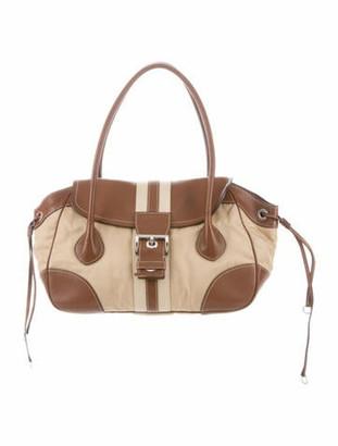 Prada Nylon Leather-Trimmed Satchel Brown