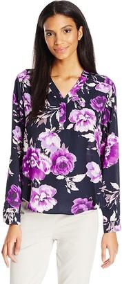 Nine West Women's Long Sleeve Floral Blouse