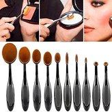 Sankuwen 10PCs Powder Foundation Face Makeup Oval Loose Brush Sets, Brush Stand to Choose (mini 10 PCs)