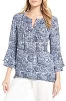 Chaus Bell Sleeve Ginkgo Fans Blouse