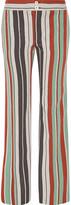 Chloé Striped Cotton-blend Twill Wide-leg Pants - Mint