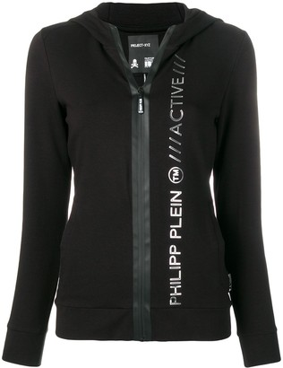 Philipp Plein Fitted Logo Embossed Hoodie
