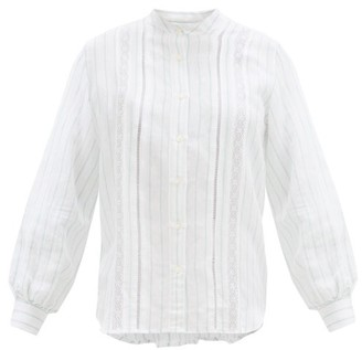 Officine Generale Jenny Lace-trimmed Striped Voile Shirt - White Multi
