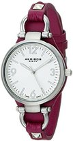 "Akribos XXIV Women's AK761PU ""Impeccable"" Silver-Tone Watch with Purple Leather Band"