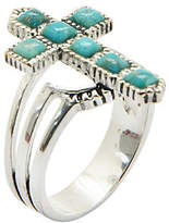 Silver Cross Fine Jewelry Silver Elements by Barse Womens Lab Created Blue Turquoise Sterling Cocktail Ring Family