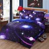 Cliab Galaxy Bedding Purple Blue Size for Girls Kids Boys Outer Space Duvet Cover Set 7 Pieces(Fitted Sheet Included)