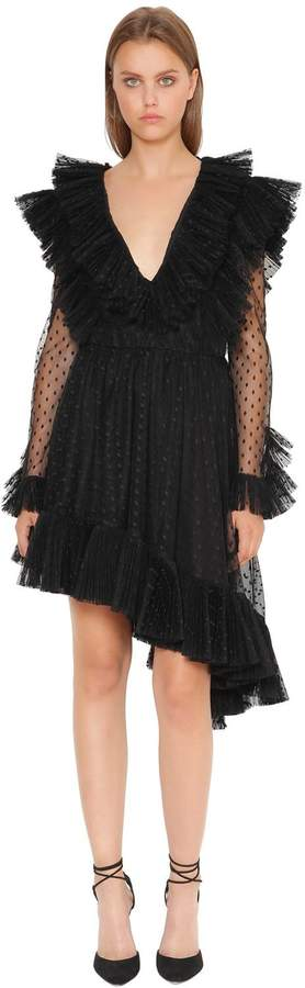 Philosophy di Lorenzo Serafini Plisse Swiss Dot Tulle Dress