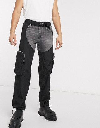 ASOS DESIGN chaps with cargo pockets in black nylon